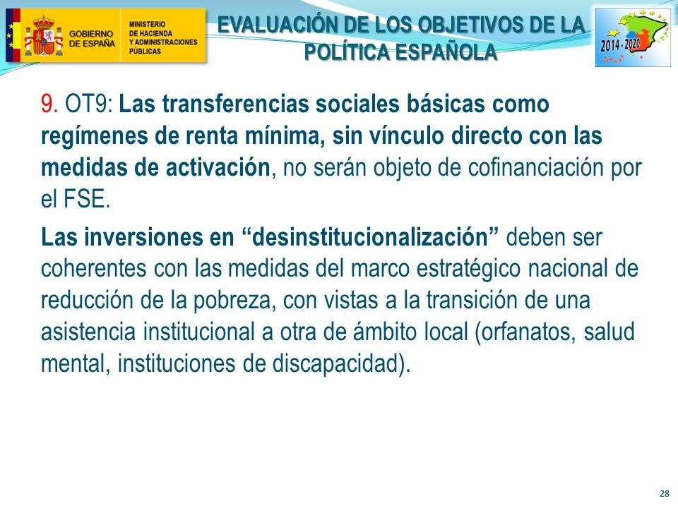 Evaluación de los objetivos de la política Española