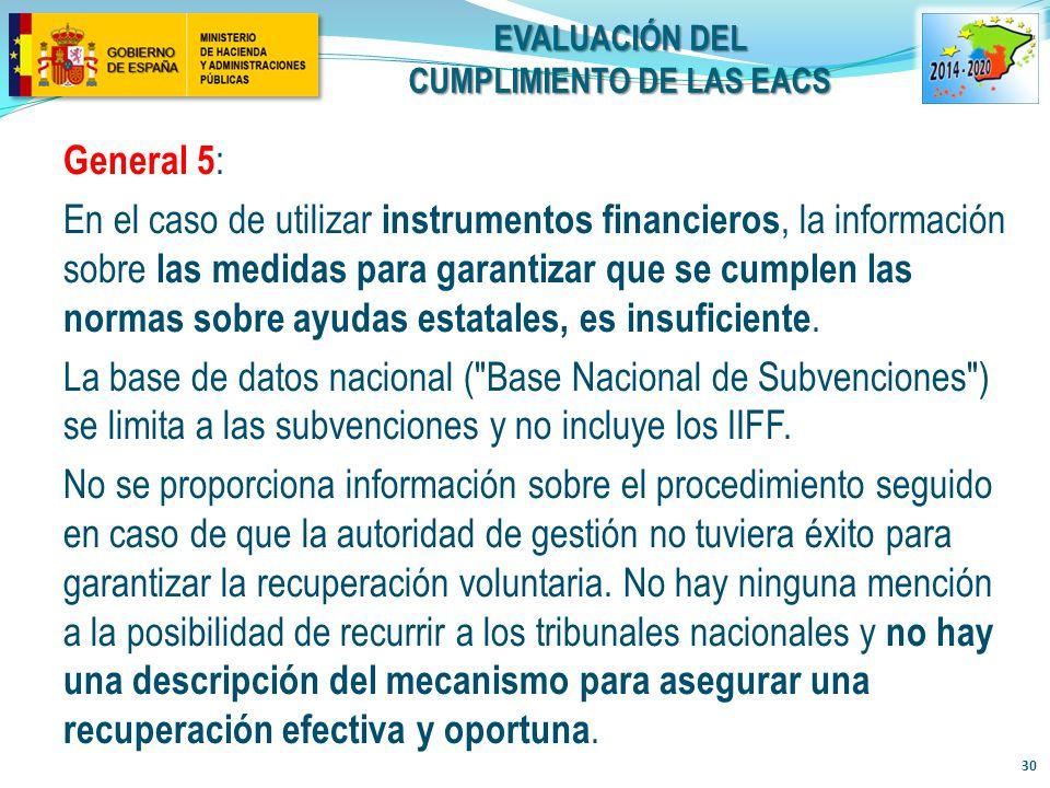 evaluación del cumplimiento de LAS EACs