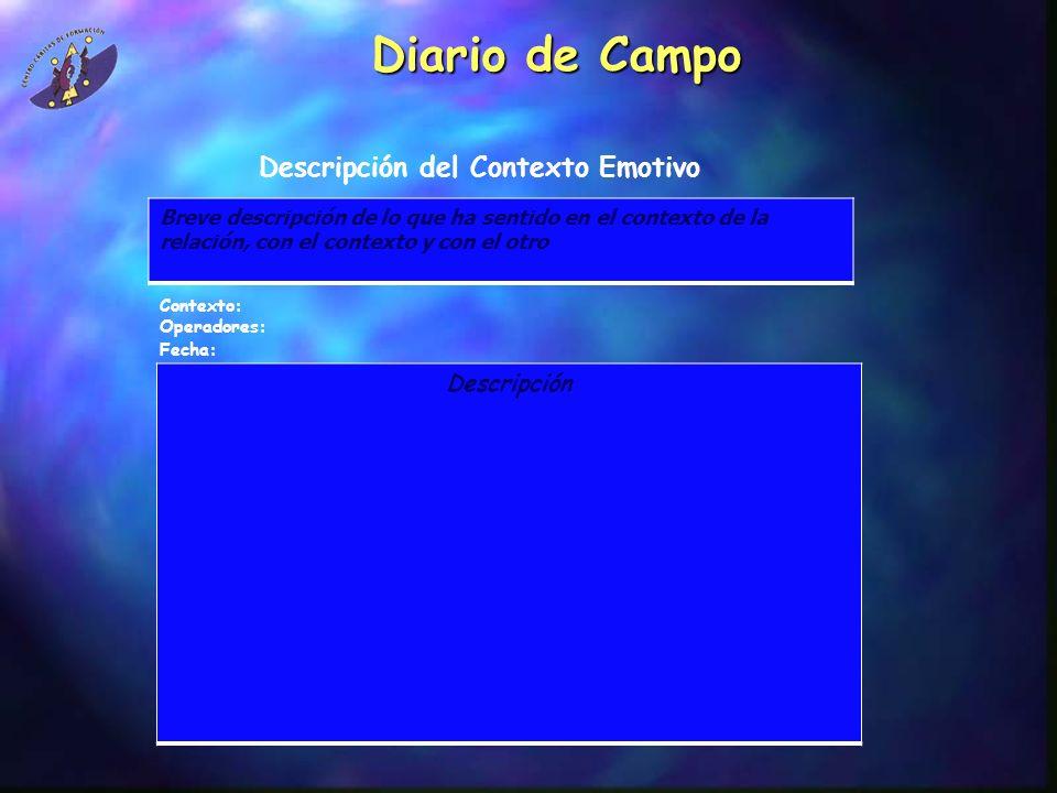 Diario de Campo Descripción del Contexto Emotivo Contexto: Operadores: