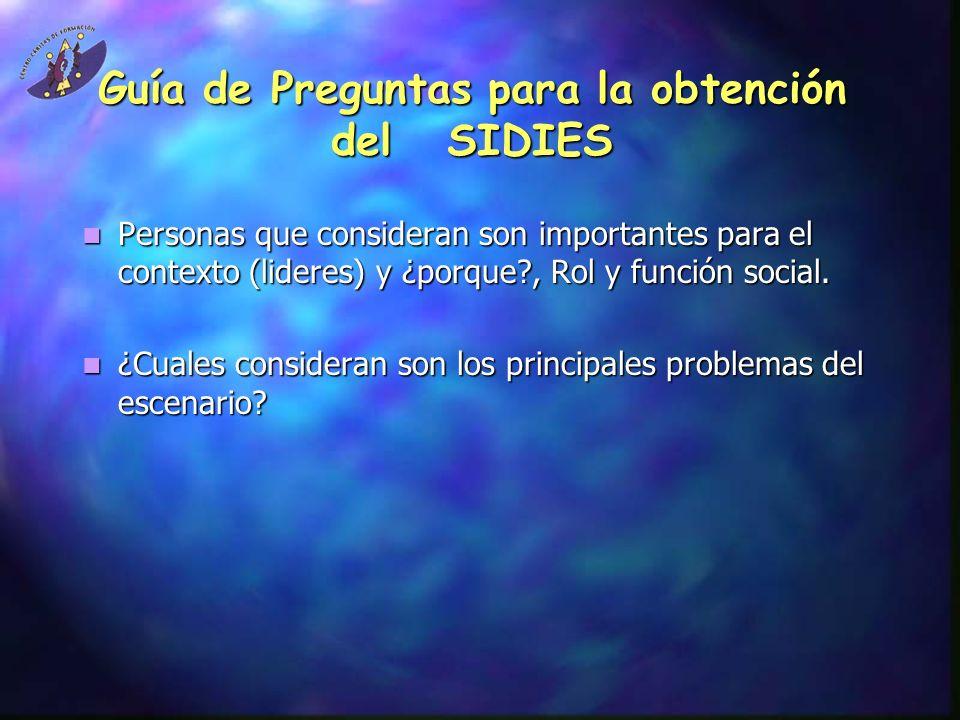 Guía de Preguntas para la obtención del SIDIES