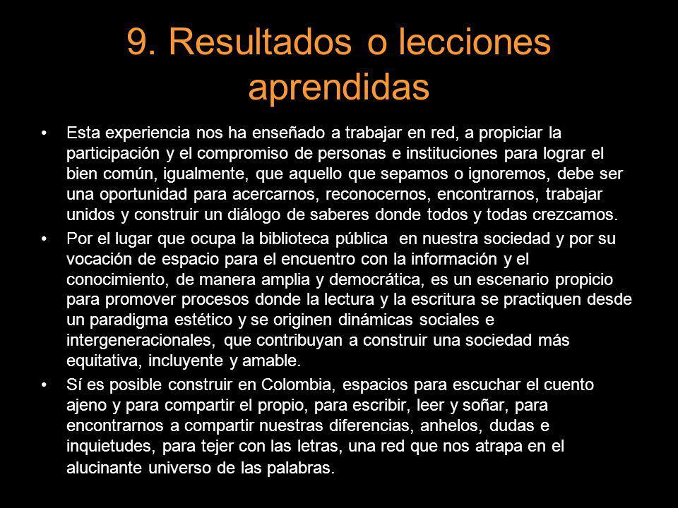 9. Resultados o lecciones aprendidas