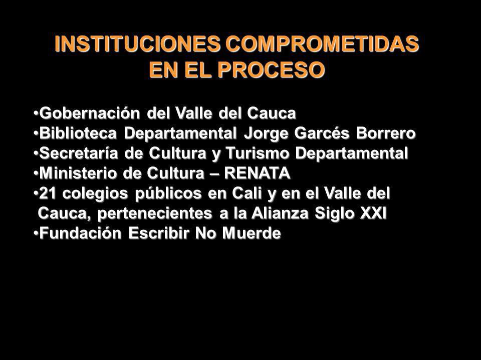 INSTITUCIONES COMPROMETIDAS EN EL PROCESO