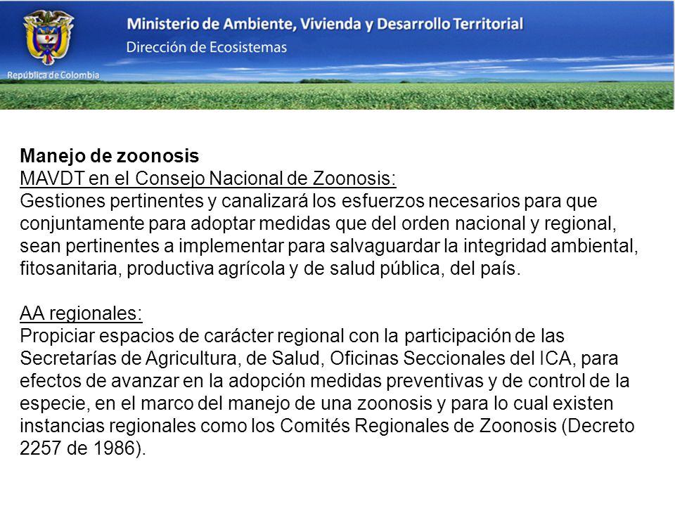 Manejo de zoonosis MAVDT en el Consejo Nacional de Zoonosis: