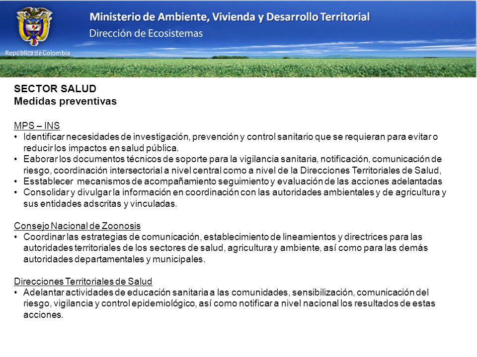SECTOR SALUD Medidas preventivas MPS – INS