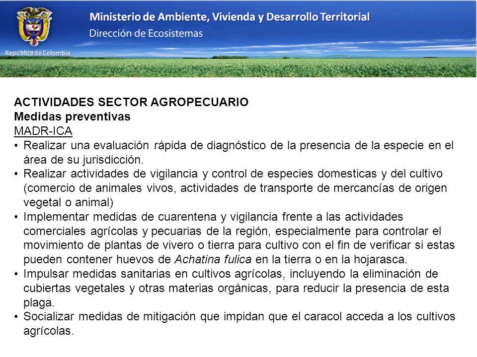ACTIVIDADES SECTOR AGROPECUARIO