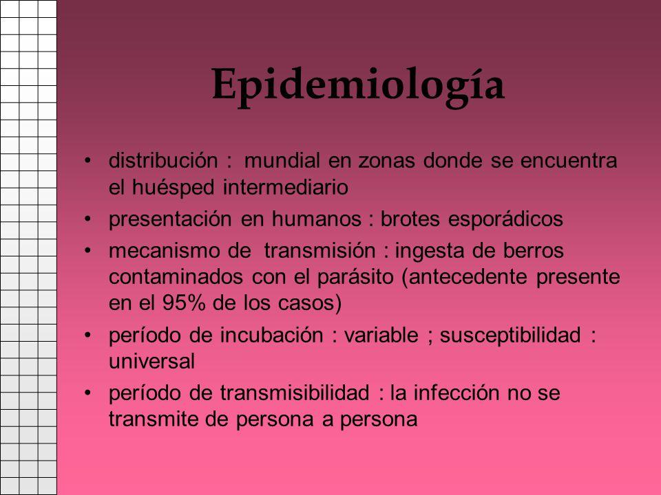 Epidemiología distribución : mundial en zonas donde se encuentra el huésped intermediario. presentación en humanos : brotes esporádicos.