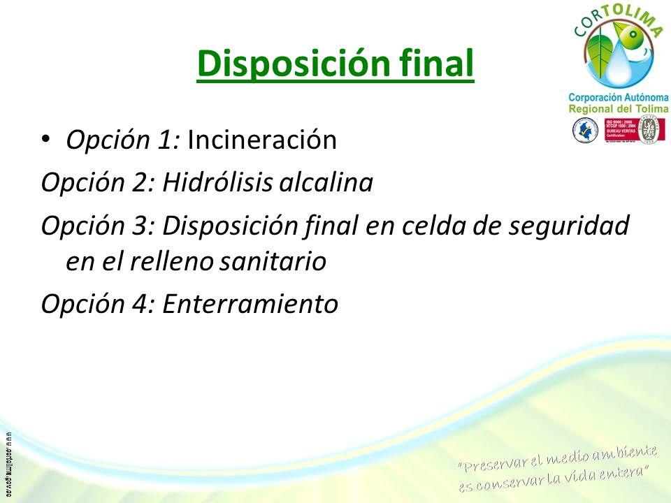 Disposición final Opción 1: Incineración Opción 2: Hidrólisis alcalina