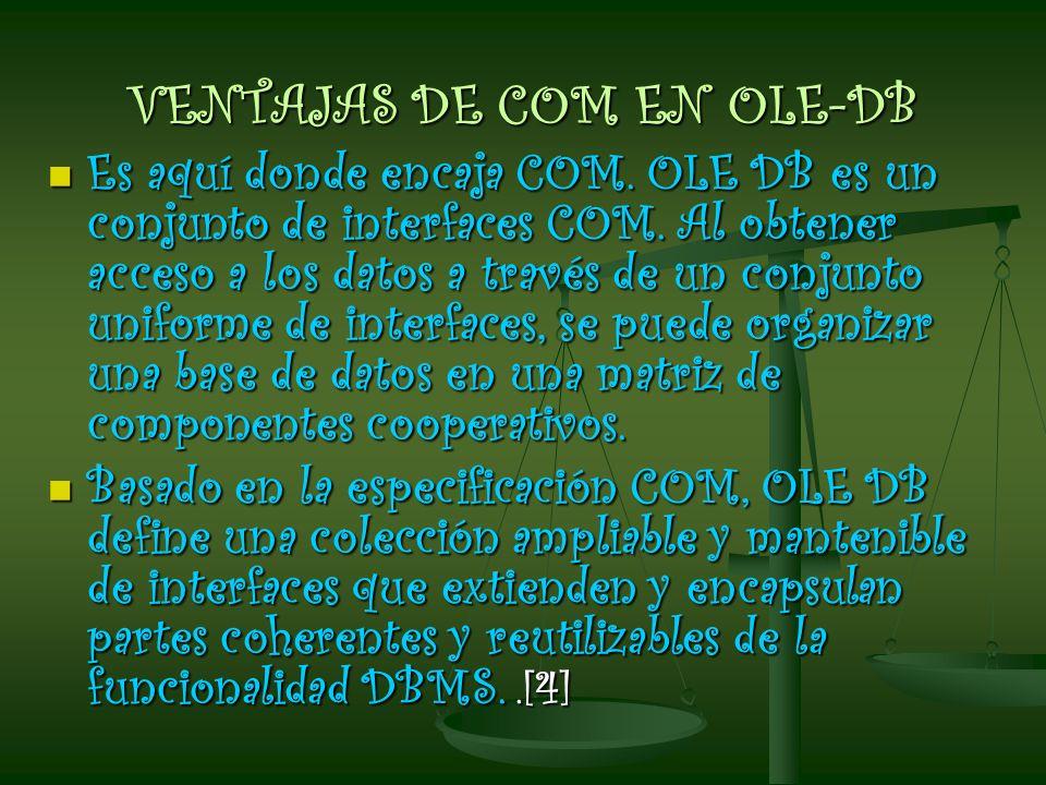 VENTAJAS DE COM EN OLE-DB