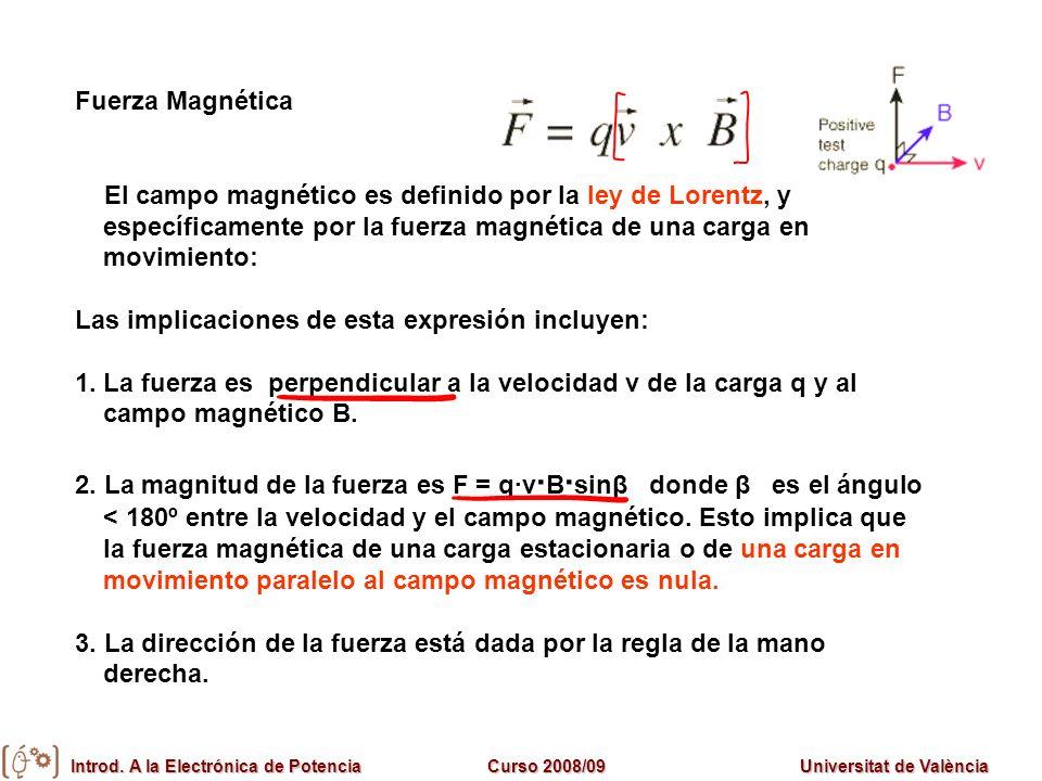 Fuerza Magnética El campo magnético es definido por la ley de Lorentz, y específicamente por la fuerza magnética de una carga en movimiento: