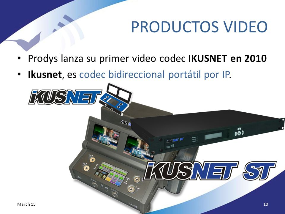 PRODUCTOS VIDEO Prodys lanza su primer video codec IKUSNET en 2010