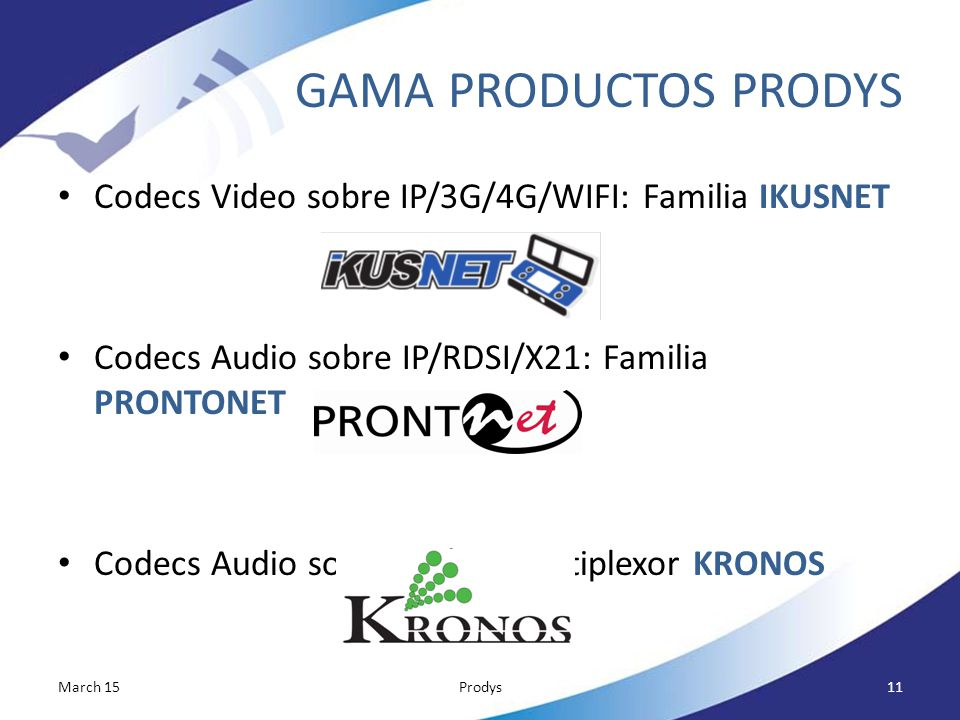 GAMA PRODUCTOS PRODYS Codecs Video sobre IP/3G/4G/WIFI: Familia IKUSNET. Codecs Audio sobre IP/RDSI/X21: Familia PRONTONET.