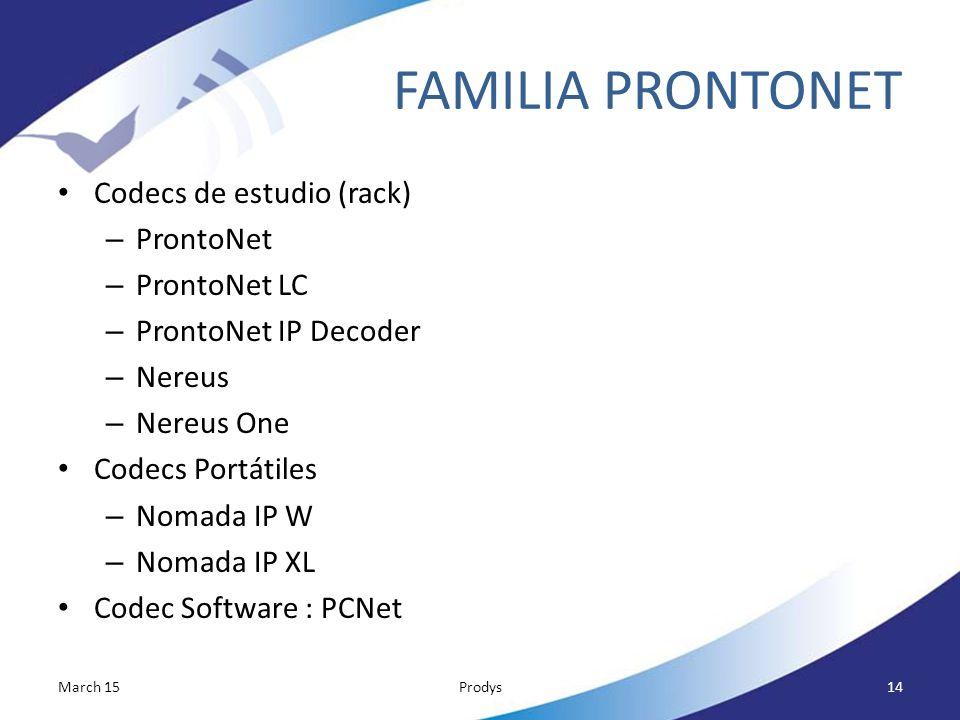 FAMILIA PRONTONET Codecs de estudio (rack) ProntoNet ProntoNet LC