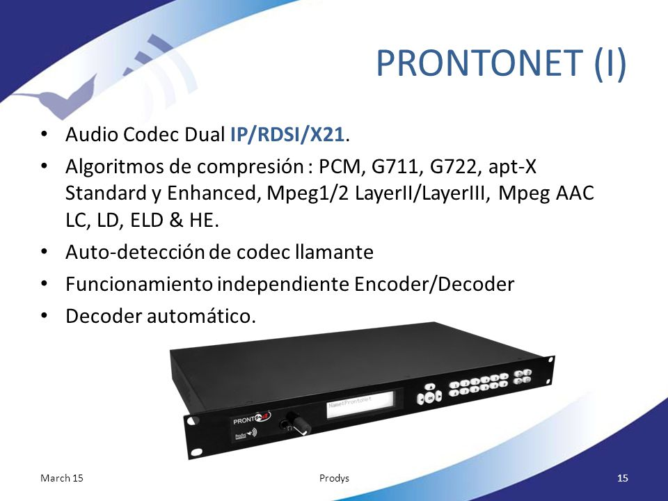 PRONTONET (I) Audio Codec Dual IP/RDSI/X21.