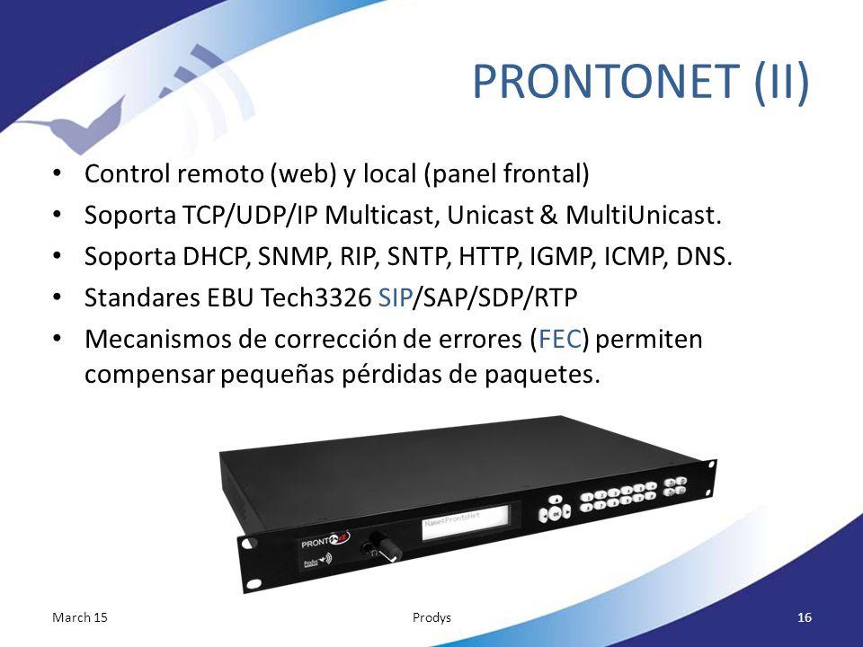 PRONTONET (II) Control remoto (web) y local (panel frontal)