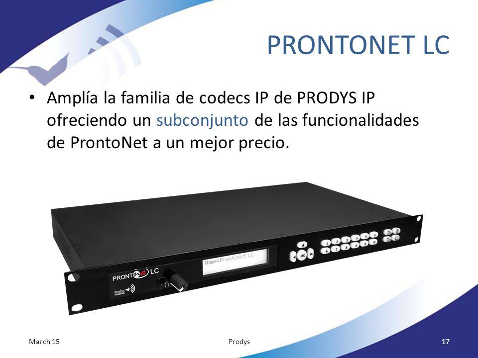 PRONTONET LC Amplía la familia de codecs IP de PRODYS IP ofreciendo un subconjunto de las funcionalidades de ProntoNet a un mejor precio.