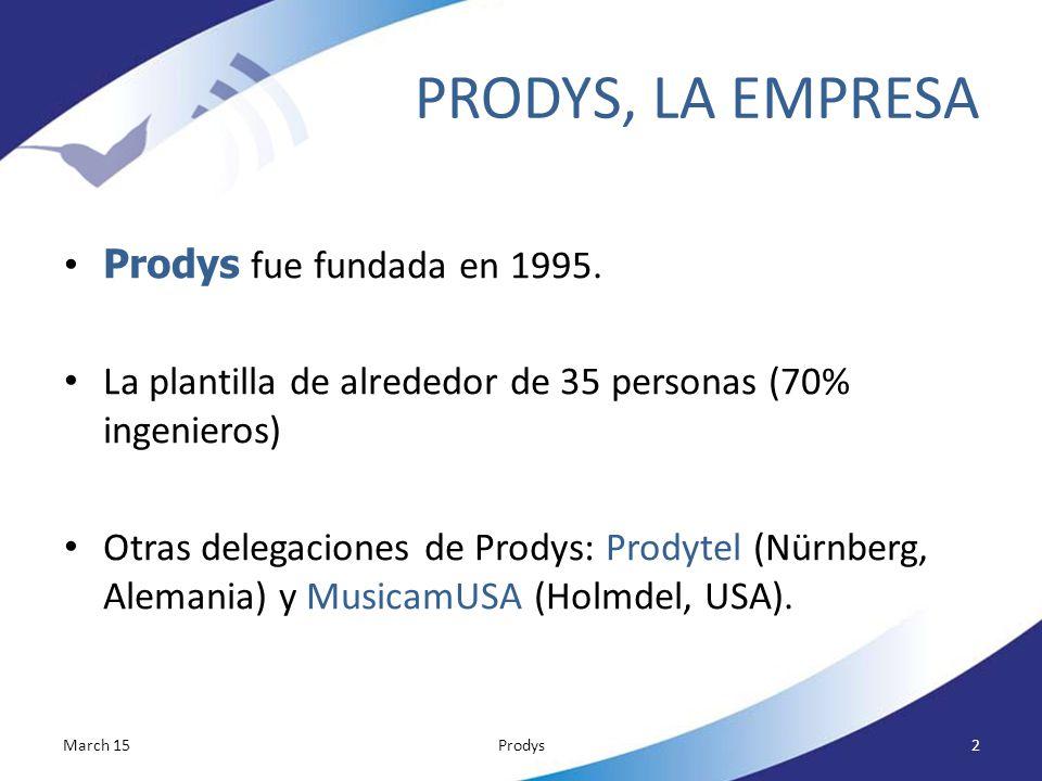PRODYS, LA EMPRESA Prodys fue fundada en 1995.