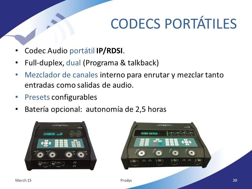 CODECS PORTÁTILES Codec Audio portátil IP/RDSI.