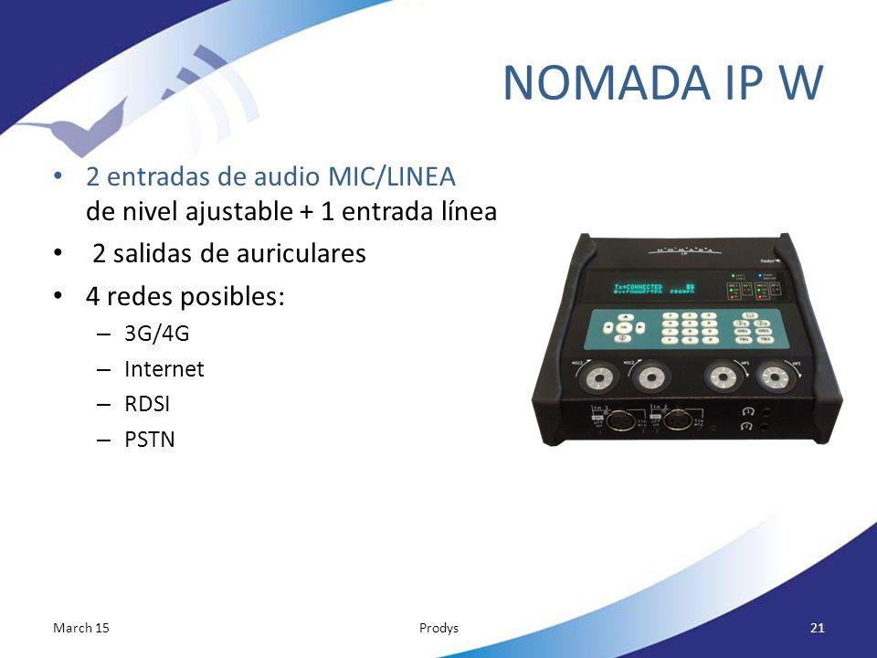 NOMADA IP W 2 entradas de audio MIC/LINEA de nivel ajustable + 1 entrada línea. 2 salidas de auriculares.