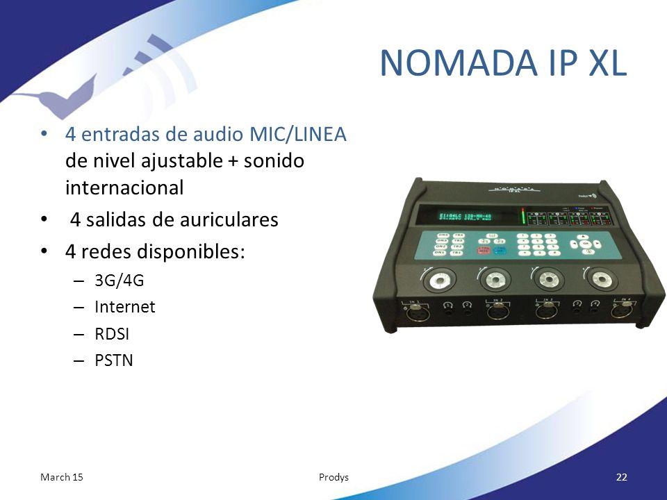 NOMADA IP XL 4 entradas de audio MIC/LINEA de nivel ajustable + sonido internacional. 4 salidas de auriculares.