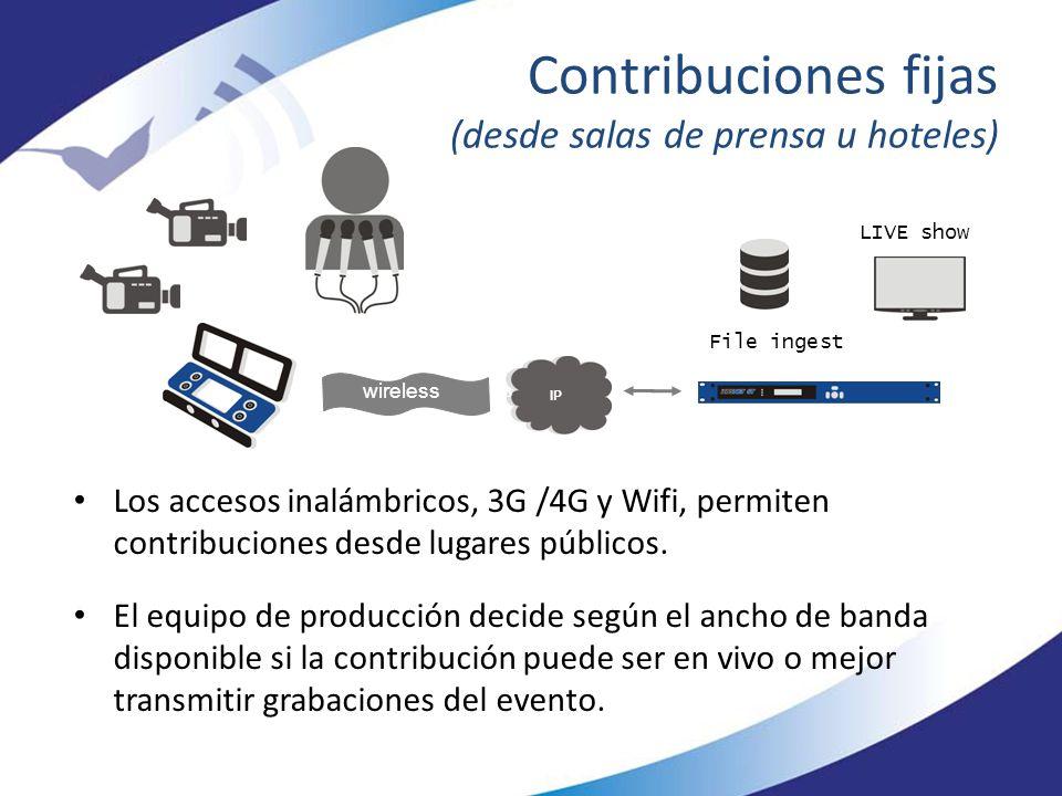 Contribuciones fijas (desde salas de prensa u hoteles)