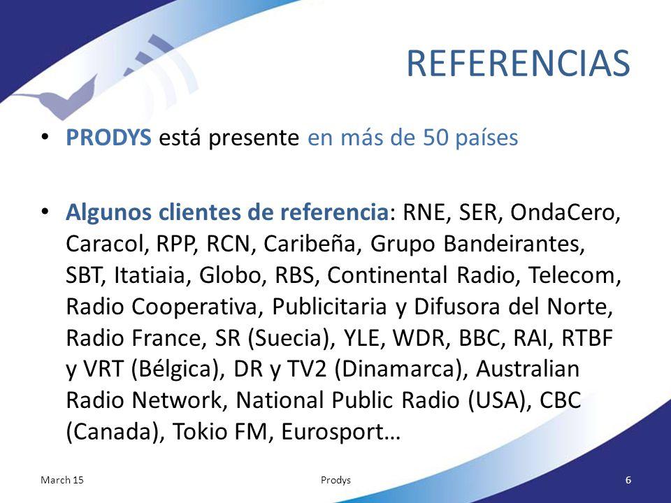 REFERENCIAS PRODYS está presente en más de 50 países