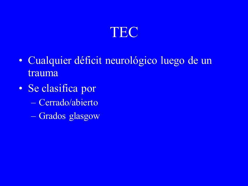 TEC Cualquier déficit neurológico luego de un trauma Se clasifica por