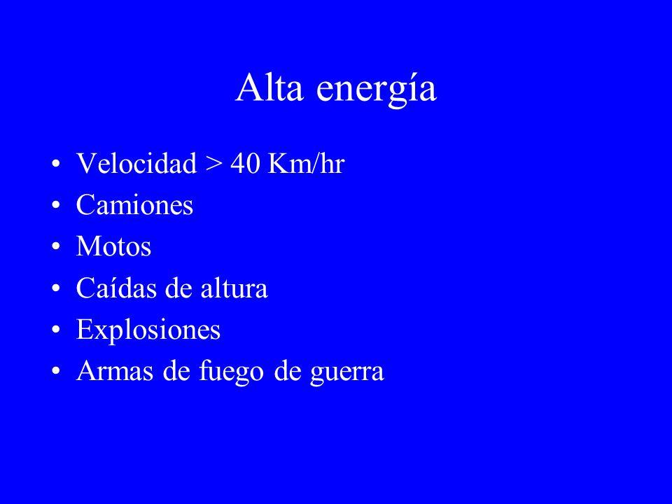 Alta energía Velocidad > 40 Km/hr Camiones Motos Caídas de altura