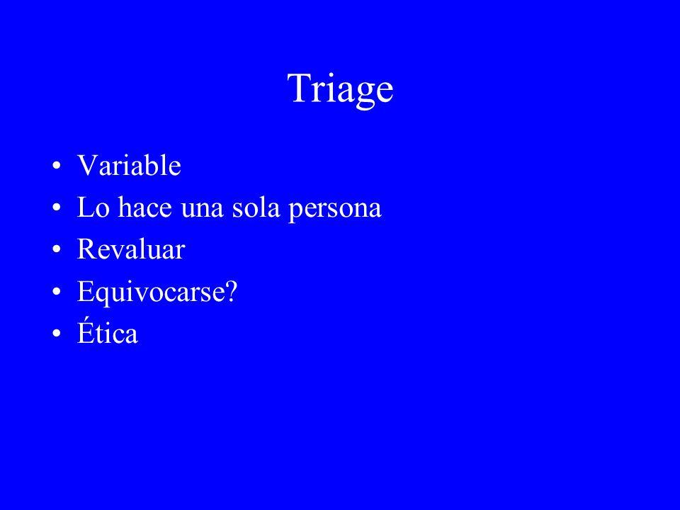 Triage Variable Lo hace una sola persona Revaluar Equivocarse Ética