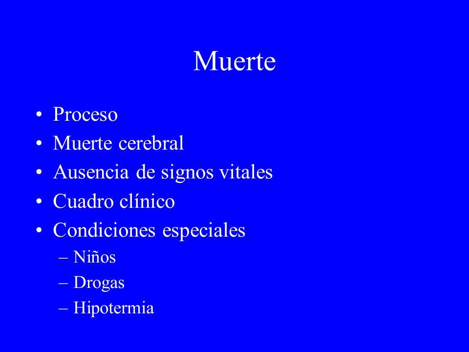 Muerte Proceso Muerte cerebral Ausencia de signos vitales