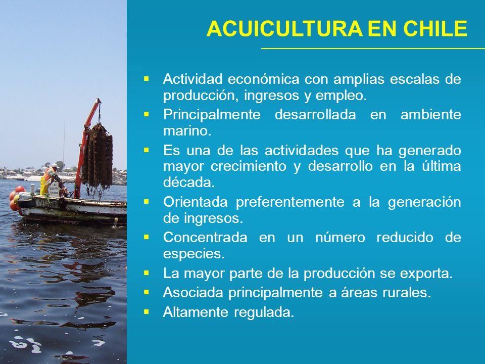 ACUICULTURA EN CHILE Actividad económica con amplias escalas de producción, ingresos y empleo. Principalmente desarrollada en ambiente marino.