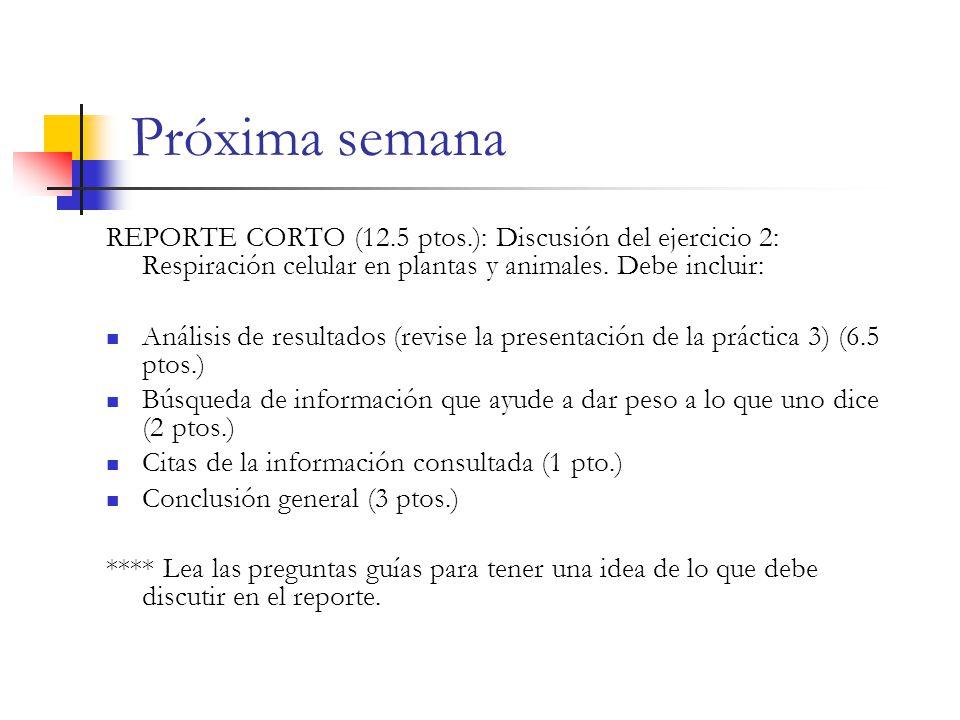 Próxima semana REPORTE CORTO (12.5 ptos.): Discusión del ejercicio 2: Respiración celular en plantas y animales. Debe incluir:
