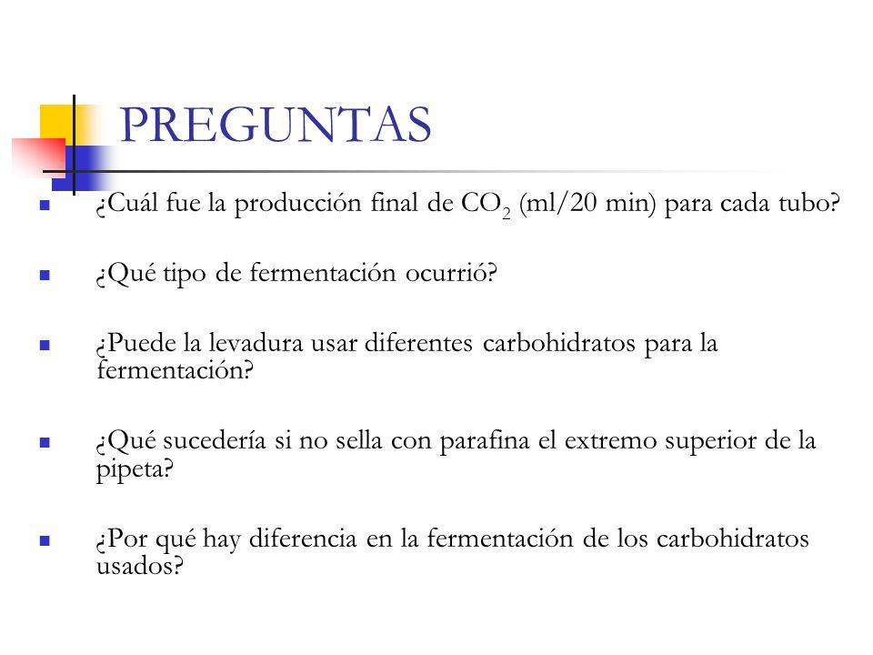 PREGUNTAS ¿Cuál fue la producción final de CO2 (ml/20 min) para cada tubo ¿Qué tipo de fermentación ocurrió