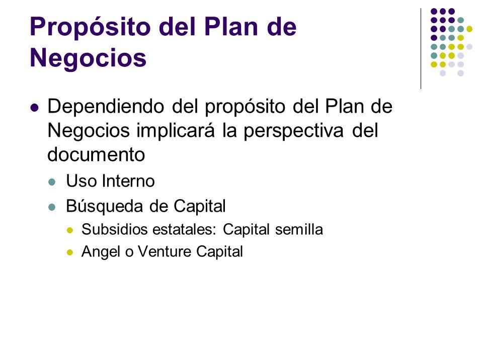 Propósito del Plan de Negocios