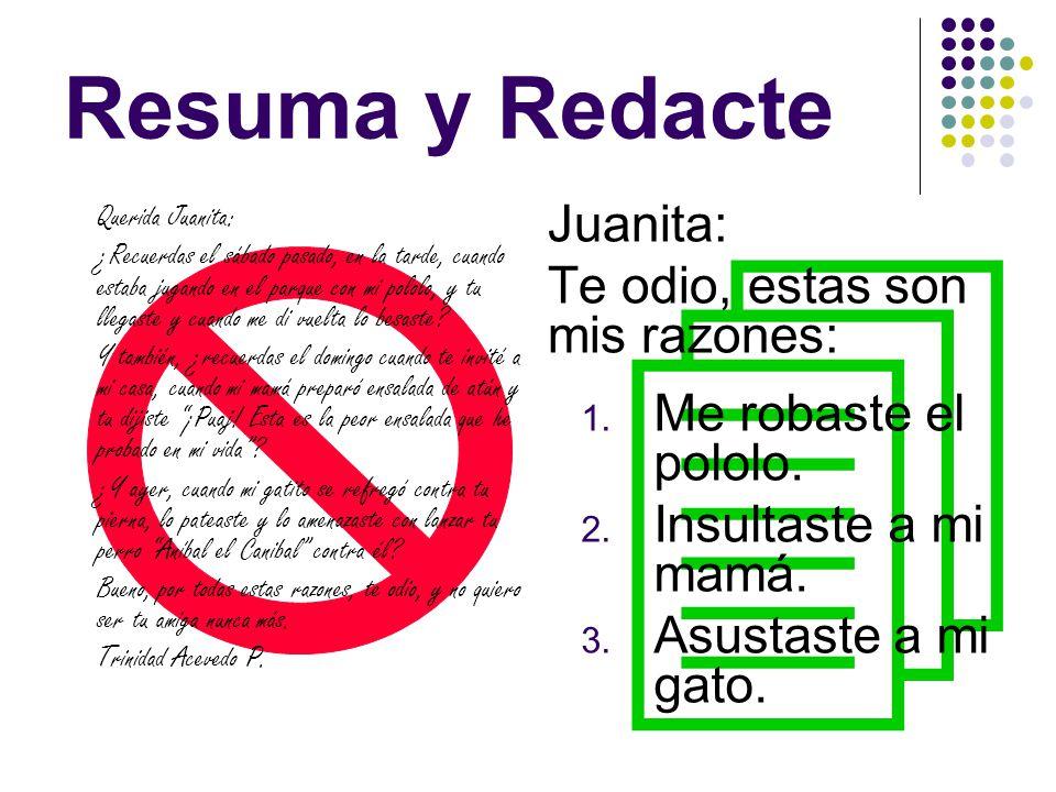  Resuma y Redacte Juanita: Te odio, estas son mis razones: