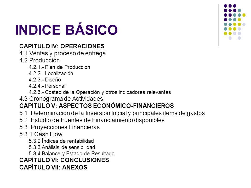 INDICE BÁSICO CAPITULO IV: OPERACIONES 4.1 Ventas y proceso de entrega