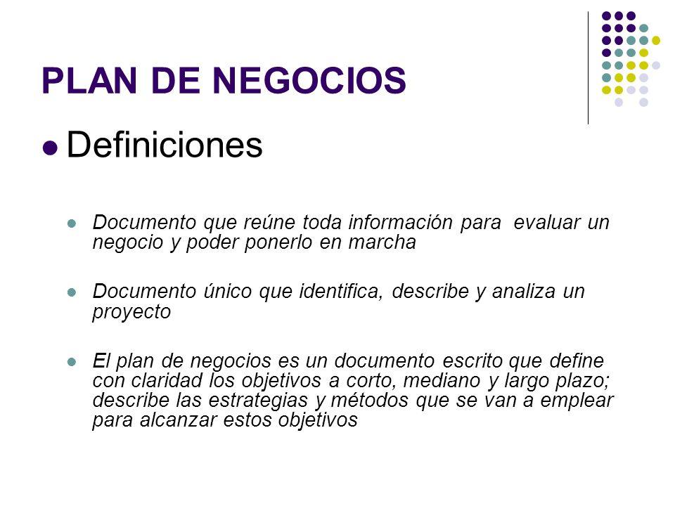 PLAN DE NEGOCIOS Definiciones