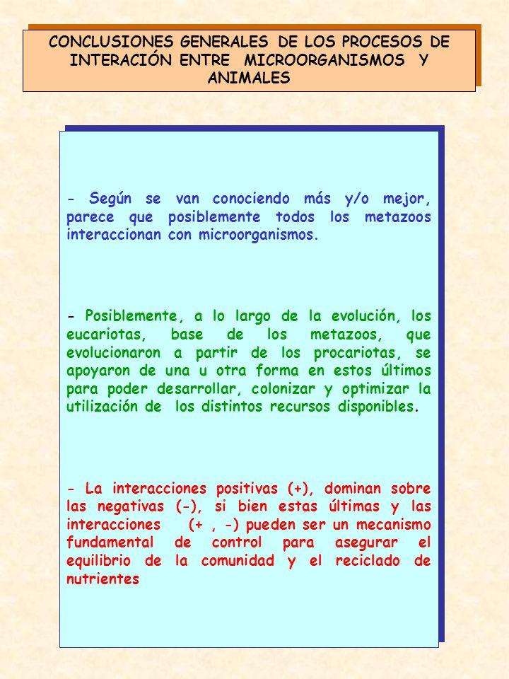 CONCLUSIONES GENERALES DE LOS PROCESOS DE INTERACIÓN ENTRE MICROORGANISMOS Y ANIMALES
