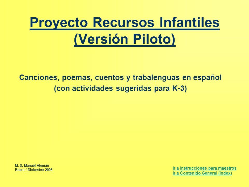 Proyecto Recursos Infantiles (Versión Piloto)