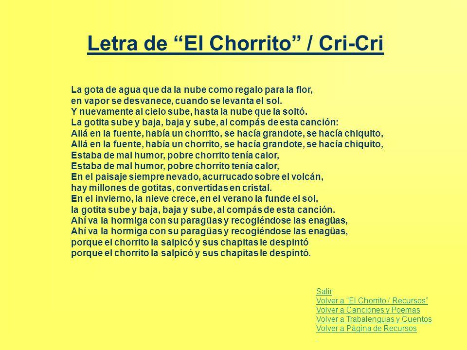 Letra de El Chorrito / Cri-Cri