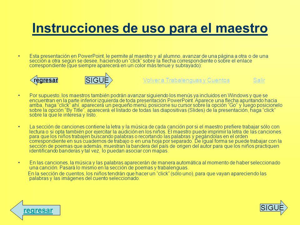 Instrucciones de uso para el maestro