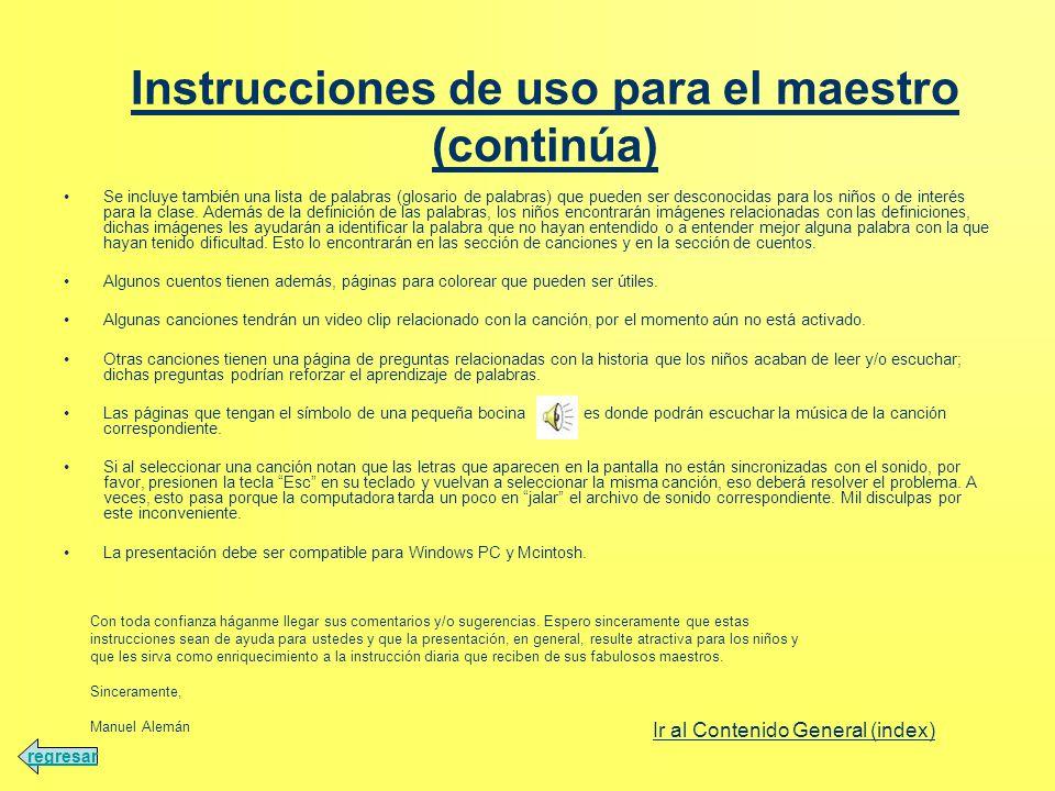 Instrucciones de uso para el maestro (continúa)