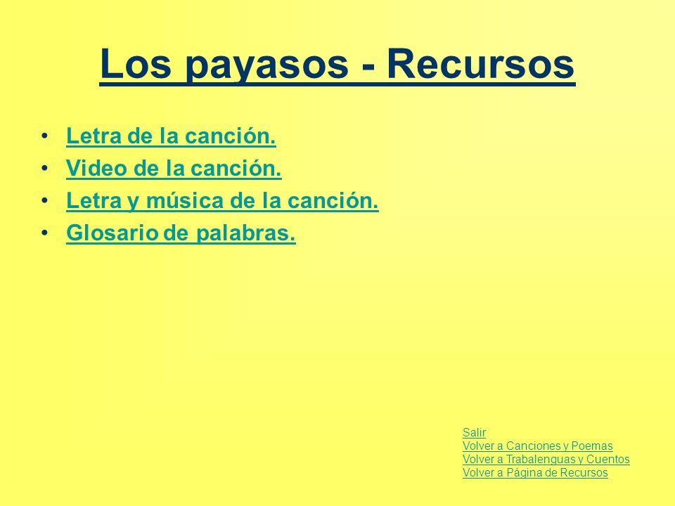 Los payasos - Recursos Letra de la canción. Video de la canción.