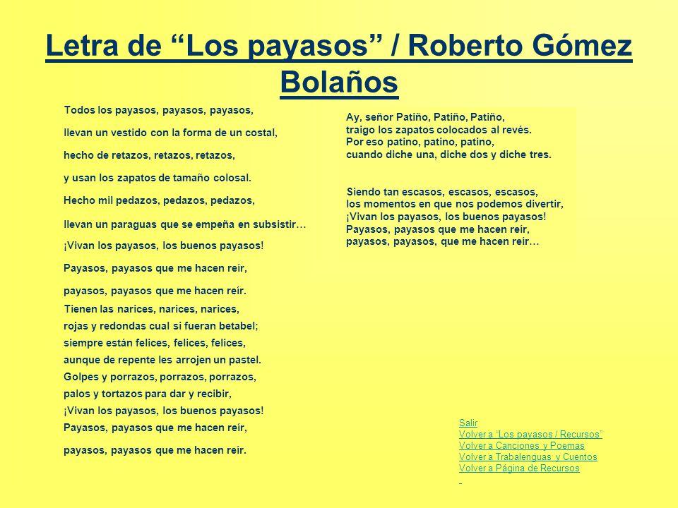 Letra de Los payasos / Roberto Gómez Bolaños