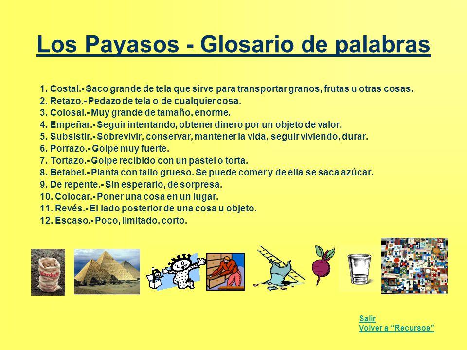 Los Payasos - Glosario de palabras