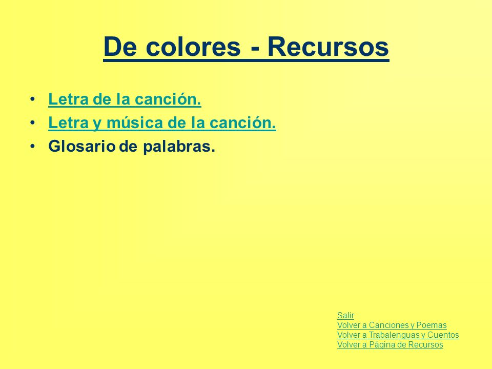 De colores - Recursos Letra de la canción.