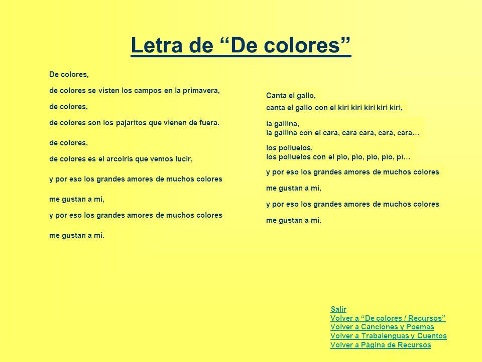 Letra de De colores De colores,