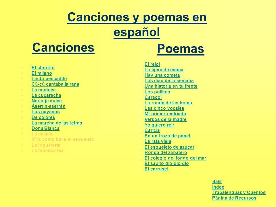 Canciones y poemas en español