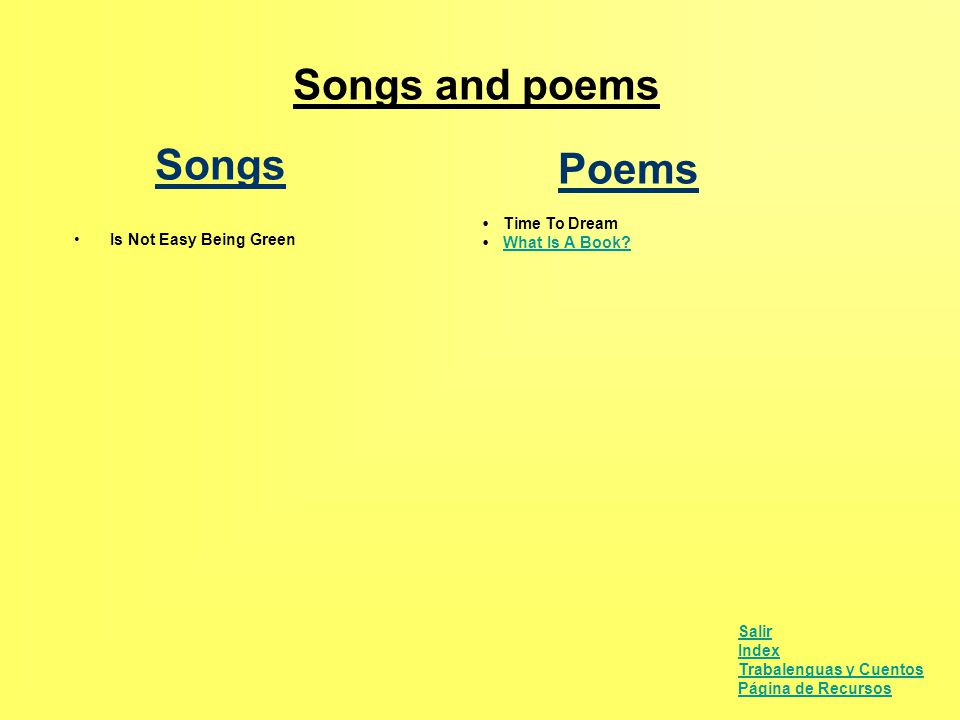 Songs and poems Poems Songs