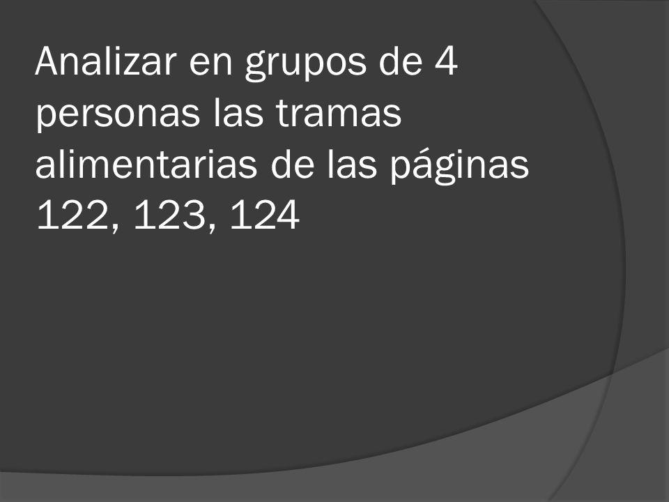 Analizar en grupos de 4 personas las tramas alimentarias de las páginas 122, 123, 124