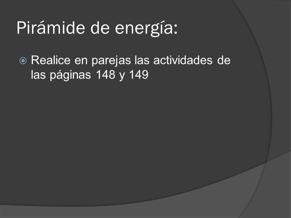Pirámide de energía: Realice en parejas las actividades de las páginas 148 y 149